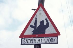 Sign marking a no-go zone for British soldiers and the Royal Ulster Constabulary