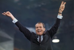 Richard Nixon Raising His Arms to Crowd